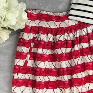 Cynthia Rowley Skirt - Pleated with Cherry Print